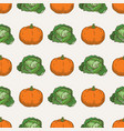 pumpkin and cabbage seamless pattern vector image