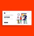 school children characters in lab landing page vector image vector image