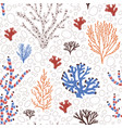 seamless pattern with blue and red corals seaweed vector image