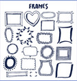 set cute hand made frames vector image vector image