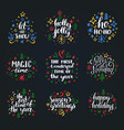 set new year hand lettering on black background vector image vector image
