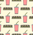 sub sandwich cola cold drink paper cup colored vector image vector image