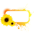 sunflower grunge frame vector image vector image
