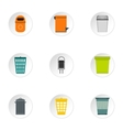 Trash can icons set flat style vector image vector image