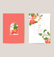 wedding apple floral card exotic fruits vector image vector image