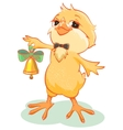 Yellow chicken rings the bell vector image