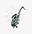 grunge label with saxophone vector image