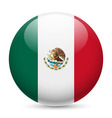 Round glossy icon of united mexican states vector image
