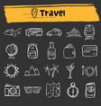 travel doodle sketch icon set vector image