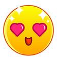 enamored yellow emoticon icon cartoon style vector image
