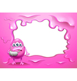 A pink border design with an injured pink monster vector image vector image