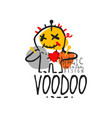adorable voodoo doll with needles for mystical vector image vector image