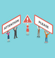 attention please isometric vector image vector image