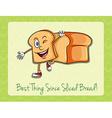 Bread slice with happy face vector image vector image