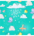 cartoon seamless pattern with cute birds clouds vector image