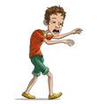 cartoon walking tired boy character vector image vector image