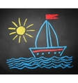Chalked drawing of ship vector image vector image