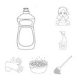 cleaning and maid outline icons in set collection vector image vector image