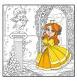 color cute princess near statue a cupid archer vector image vector image