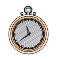 color pencil graphic of stopwatch with thick vector image vector image