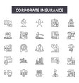 corporate insurance line icons signs set vector image vector image