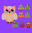 cute cartoon owls set for baby showers birthdays vector image