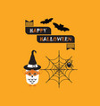 cute happy halloween banner owl and spider card vector image vector image