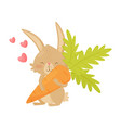 cute rabbit with big carrot in paws pink hearts vector image vector image