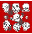 cute sketchy skulls vector image vector image