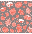 Dessert seamless pattern with Christmas vector image