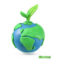 earth day icon 3d object handmade plasticine art vector image vector image