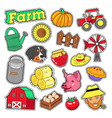 farm agricultural elements set with farmer vector image vector image