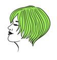 female green short hair isolate on white vector image vector image