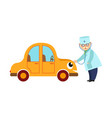 flat doctor testing car lungs vector image vector image
