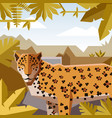 flat geometric jungle background with jaguar vector image vector image