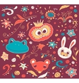 Floral and animal doodles drawing in vector image vector image