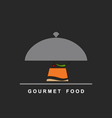 Gourmet food on a silver plate and serving dome vector image