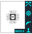 gpu icon flat vector image vector image