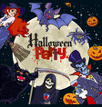 halloween cartoon characters on full moon vector image