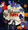 halloween cartoon characters on full moon vector image vector image