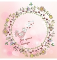 hand painted background with floral wreath vector image