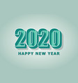 happy new year 2020 with green retro style vector image vector image