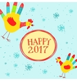 Happy New year message with hand printed roosters vector image
