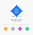 iot internet things of global 5 color glyph web vector image