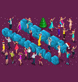 isometric celebration men and women have fun vector image vector image