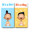 Its a boy and its a girl cards vector image
