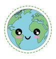 kawaii earth planet icon vector image vector image