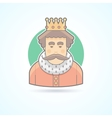 King in a crown royal person icon vector image