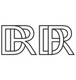 logo rd dr icon sign two interlaced letters r d vector image vector image