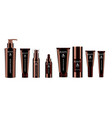 luxury brown 8 pcs cosmetics bottle set vector image